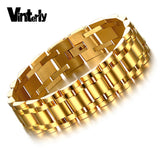 Vinterly Men's Gold Color Stainless Steel Jewelry 21.5cm High Polished  Hand Chain Men Bracelet For Male Christmas Gifts