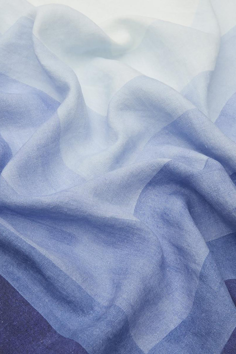 SHADES OF BLUE LINEN TABLECLOTH