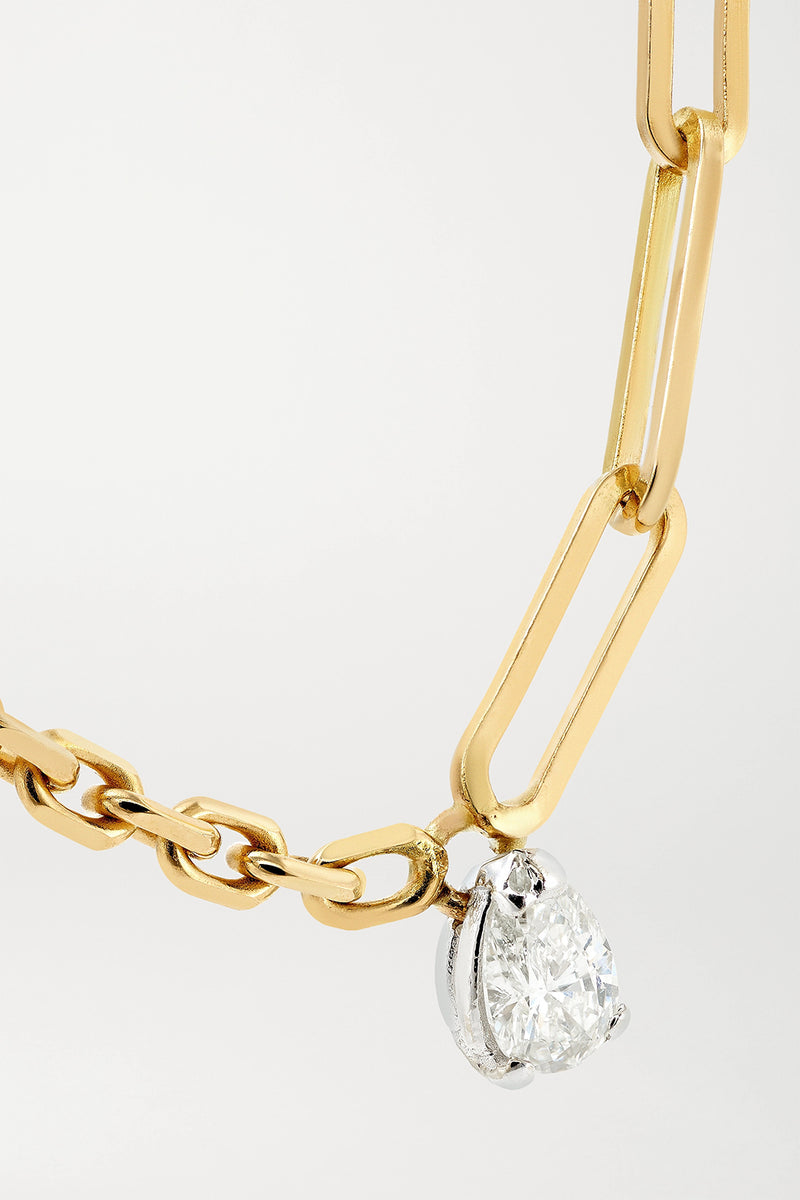 SOLITAIRE PEAR CUT 0,25C DIAMOND NECKLACE IN 18K YELLOW GOLD