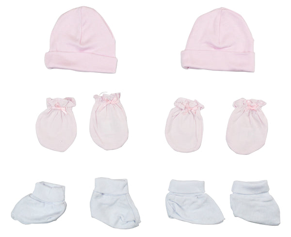 Baby Girl Cap, Booties and Mittens 6 Piece Layette