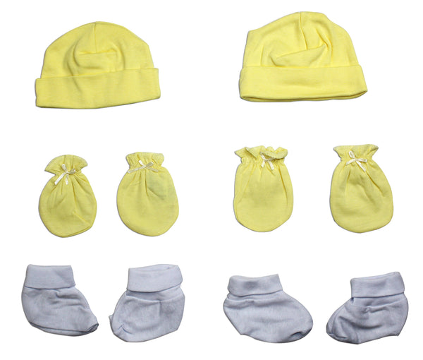 Baby Neutral Cap, Booties and Mittens 6 Piece Layette