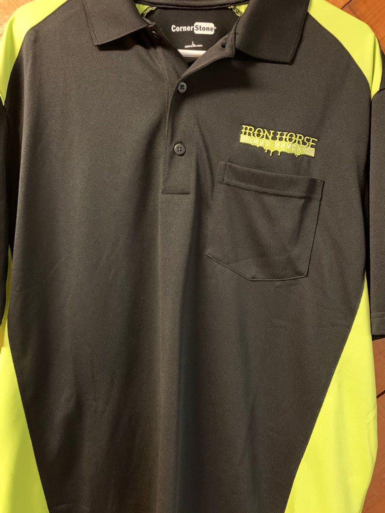 Adult Black/Lime Green Iron Horse Polo