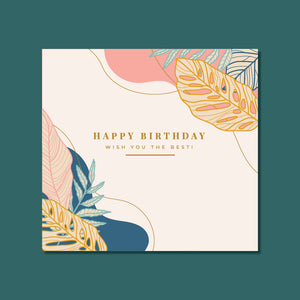 Birthday Card - Natural Leaves