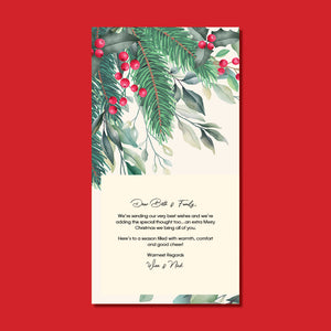 Christmas Card - Pine and ribbons