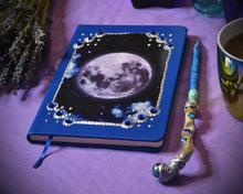 Load image into Gallery viewer, Full Moon Grimoire Journal Blue