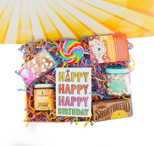 Birthday Care Package is a great Birthday Gift to ship free to their door! Full of sweets and treats! Greeting Card of your choice, send this care package to their door!