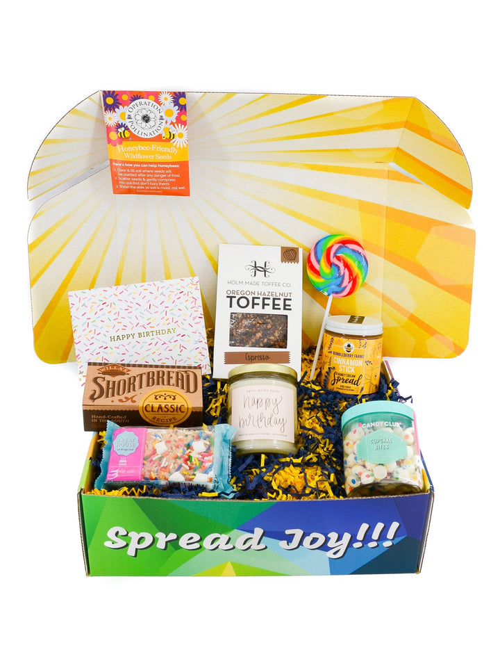 birthday care package gift sweets candle candy birthday greeting card