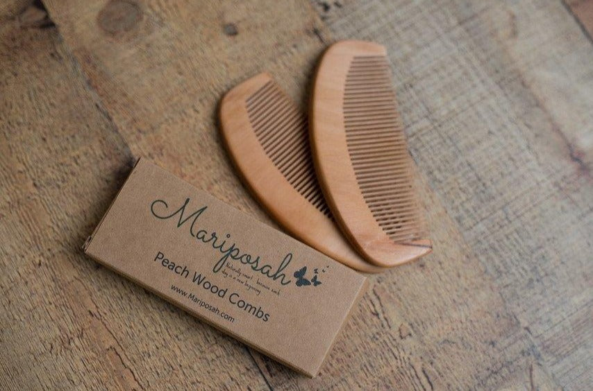 organic peach wood comb eco-friendly green care package gift organic non-toxic treats