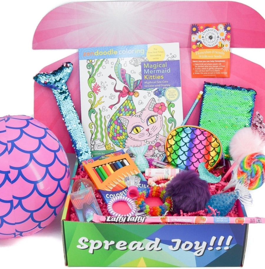 mermaid care package girls gifts mermaid treats kids activities gift care package greeting card