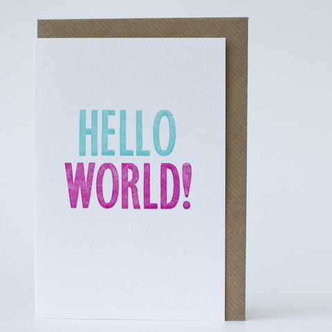 Type Card - Hello World New Baby Card