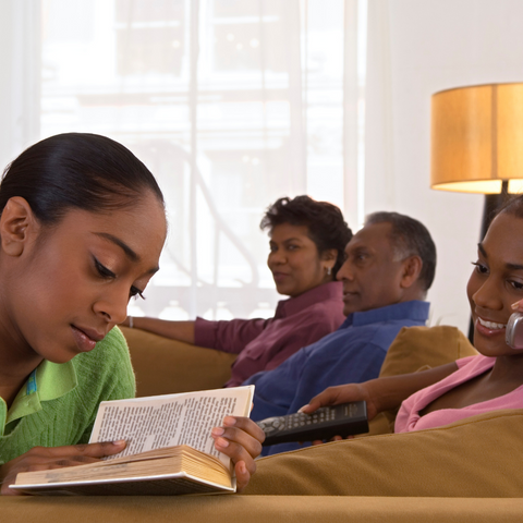 Family Relax While Home Schooling