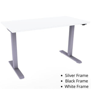 "ESI Enmo Height Adjustable Table Height Adjustable Table ESI Ergo 48.0""w x 24.0""d Designer White Matte Silver"