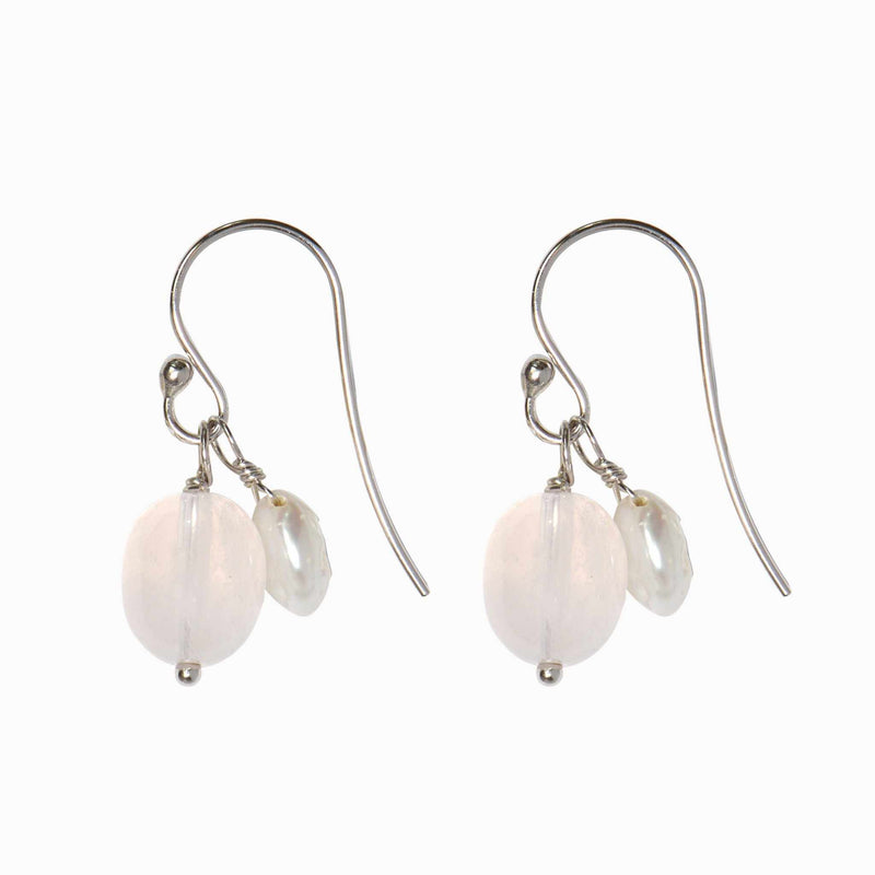 Doubled-Up Rose Pearl Drop Earrings