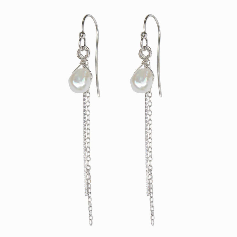 Double Silver Pearl Orbit and Chain Earring