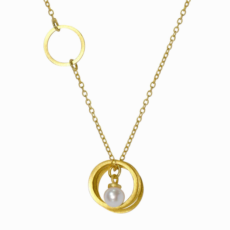 Gold Single Orbit And Pearl Necklace