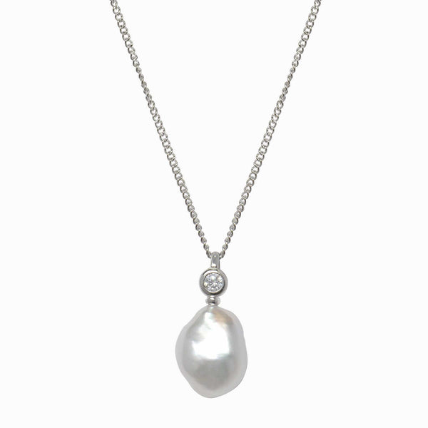 Crystal Baroque Pearl Drop Necklace