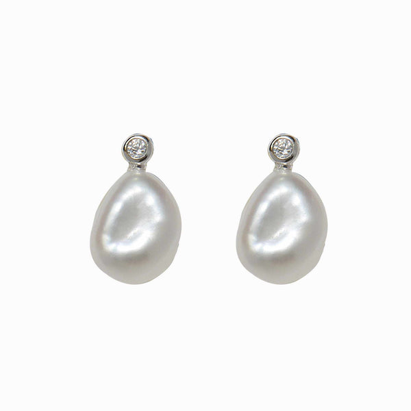 Flat Pearl Crystal Stud Earrings