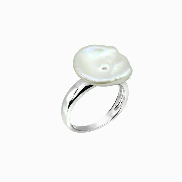 SILVER COIN PEARL RING