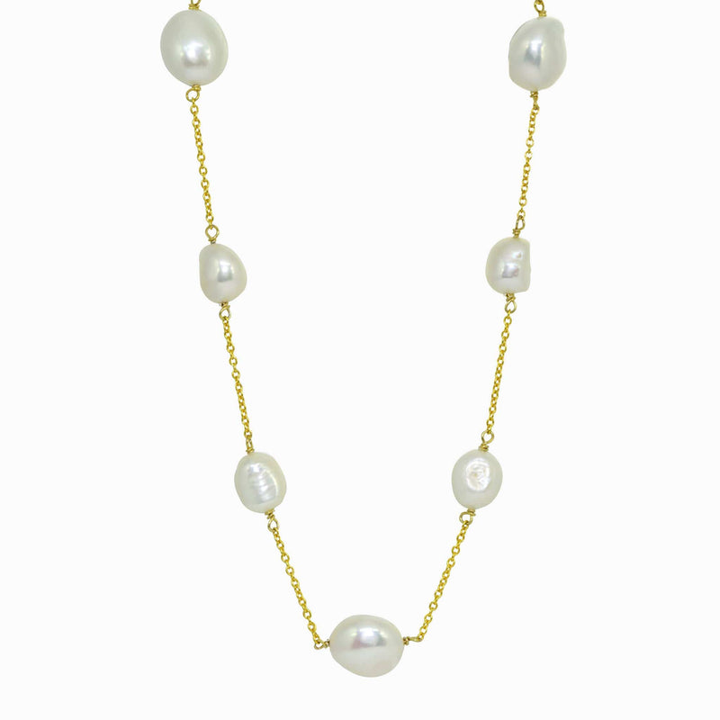 Golden Nuclear Baroque Pearl Necklace
