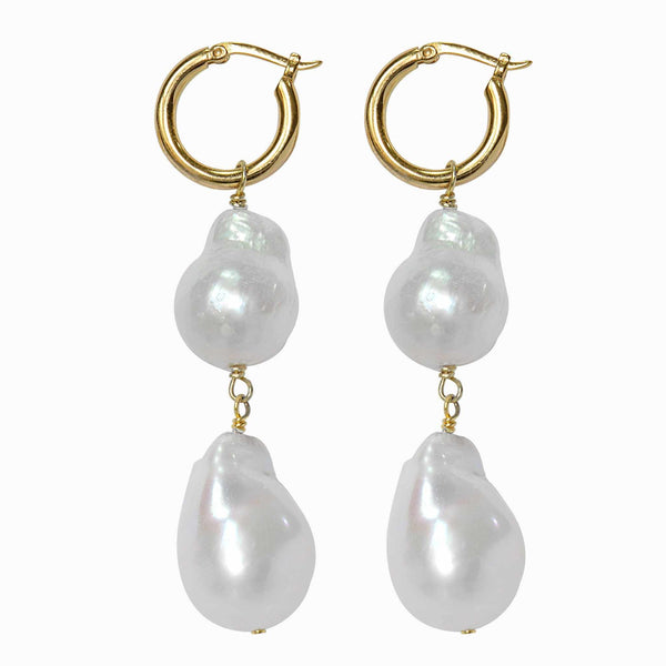 Gold Baroque Pearl Hoop Earrings