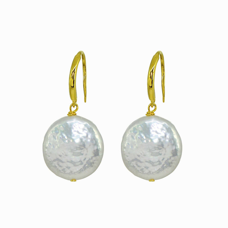 Flat Pearl Golden Drop Earrings