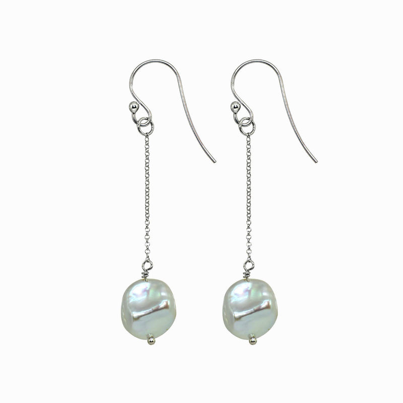 Silver Single Chain Pearl Drop Earrings