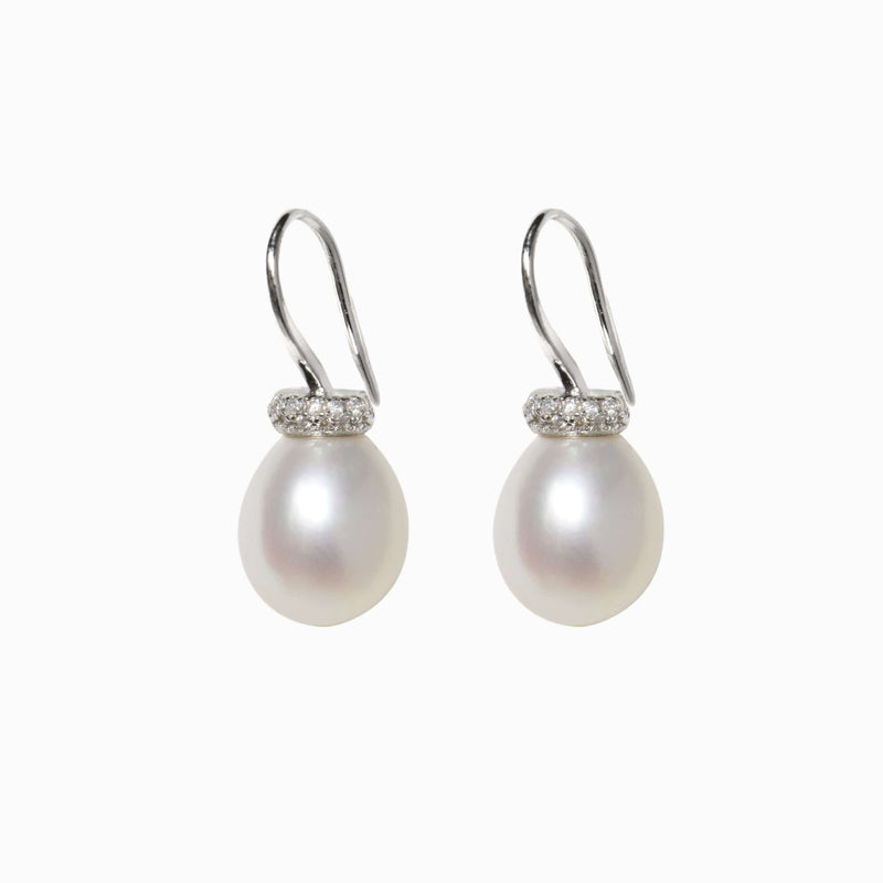 Silver Pearl and Pave Earrings