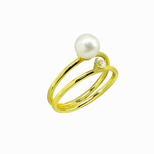 DOUBLE ORBIT CRYSTAL AND PEARL RING