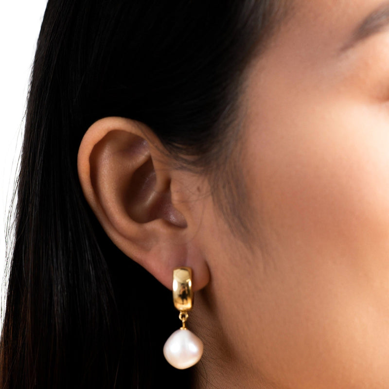Golden Pearl Drop Mini Hoop Earrings
