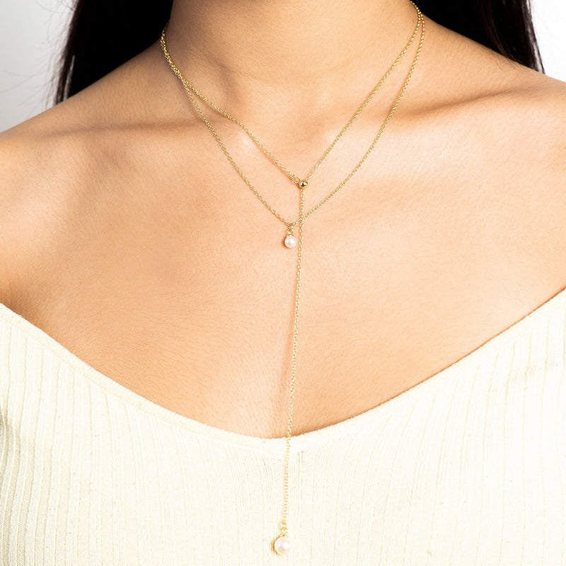 Stacked 18k Golden Pearl Necklace