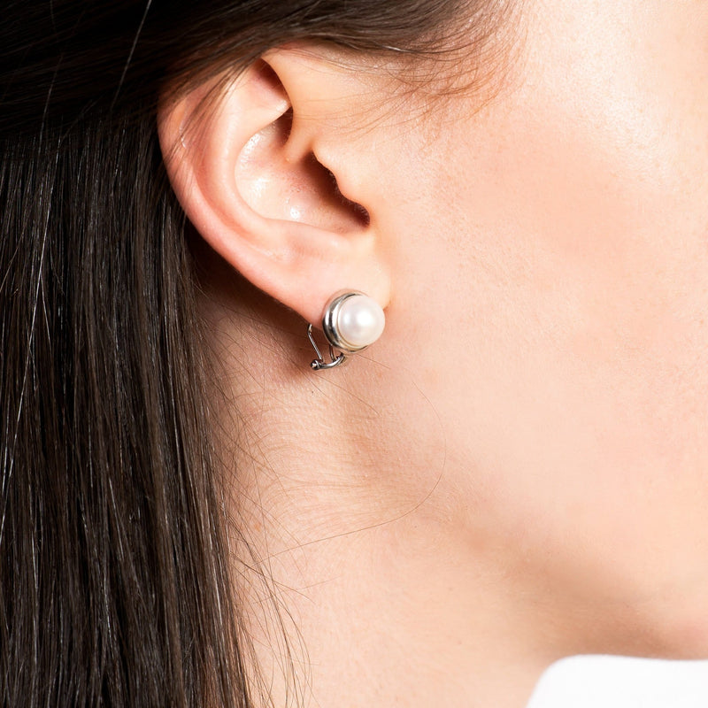 Silver Pearl Stud Earrings