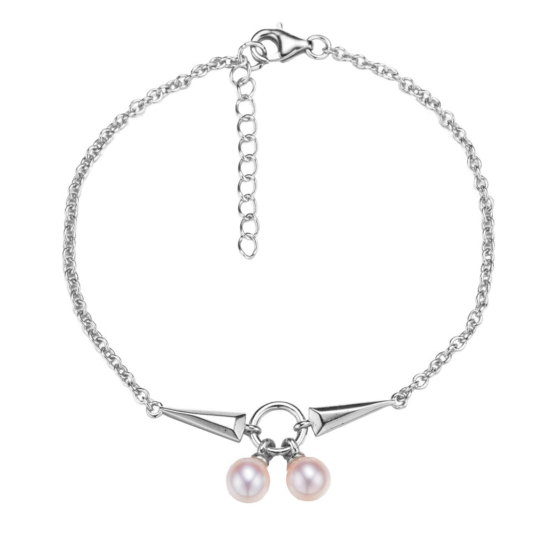 Rock and Roll Silver Pearl Bracelet
