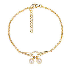 Rock and Roll Gold Pearl Bracelet