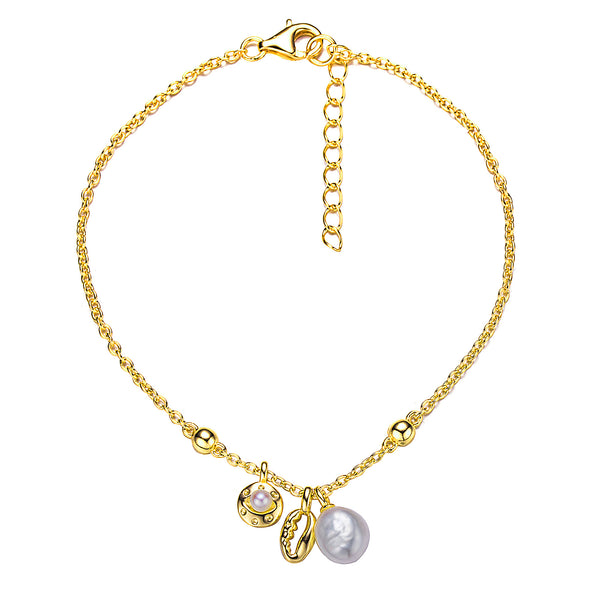 Gold Twice Charmed Pearl Bracelet