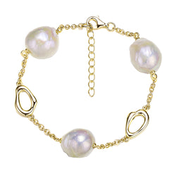 Gold Loop Pearl Bracelet