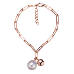 Rose Gold Pearl Duo Chain Link Bracelet