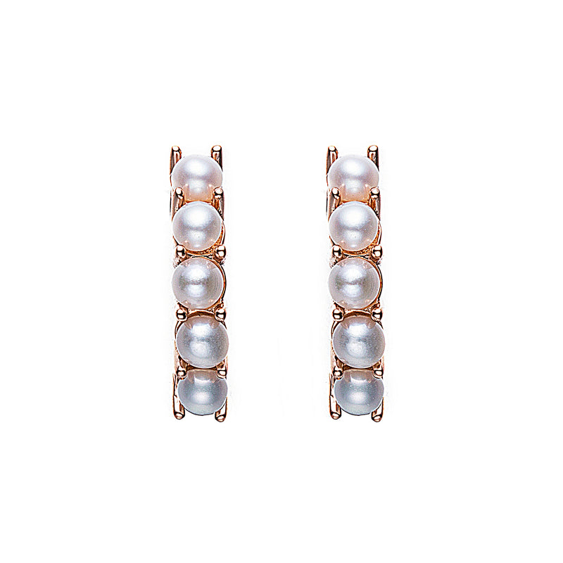 Semi Circle Pearl Stud Earrings