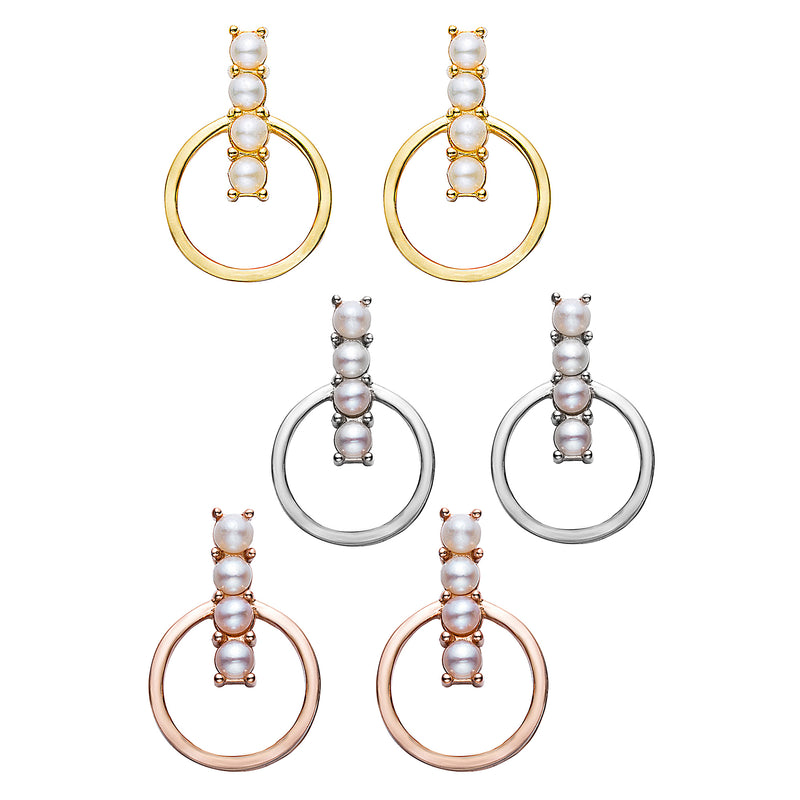 Modernist Pearl Drop Hoops