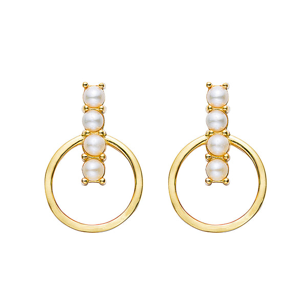Floating Pearl Hoop Studs