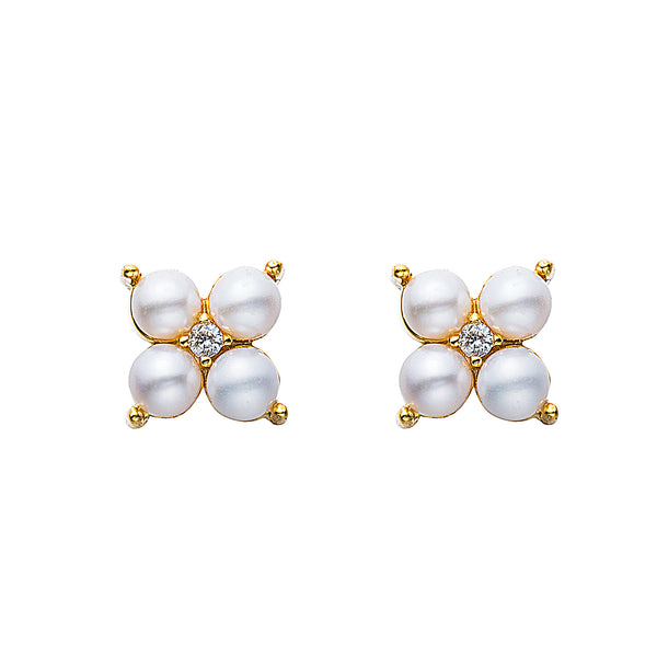 Orchid Flower Pearl Earrings