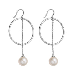Hoop Pearl Drop Earrings