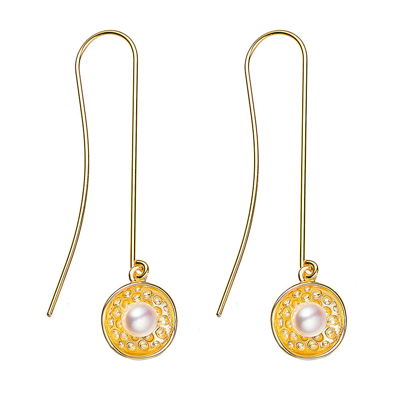 Pearl Disk Drop Earrings