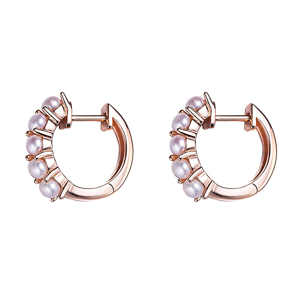 Five in a Row Rose Gold Pearl Hoop Earrings