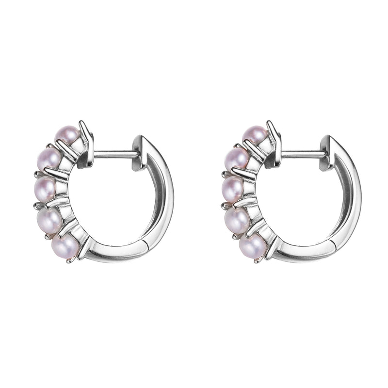 Five in a Row Silver Pearl Hoop Earrings