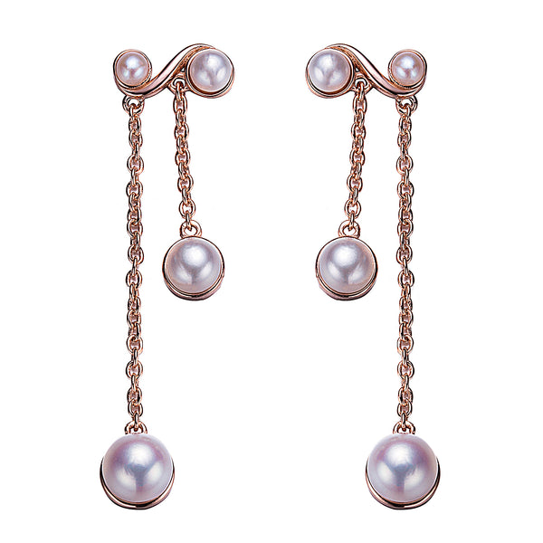 Antique Chandelier Rose Gold Pearl Earrings