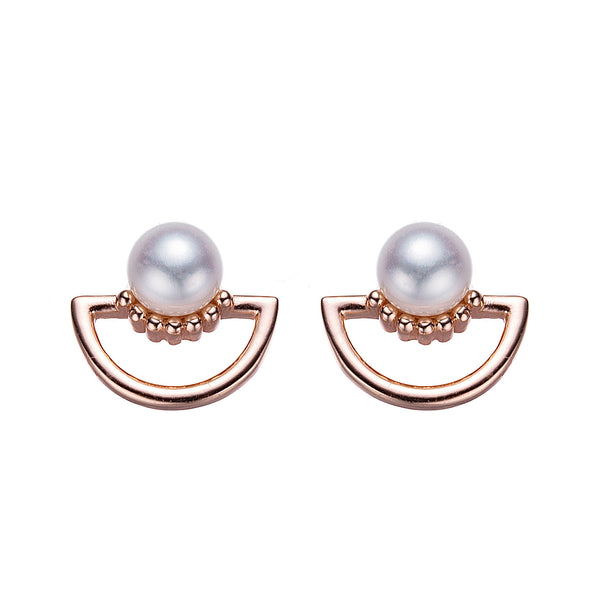Rose Gold Sunset Button Pearl Earrings