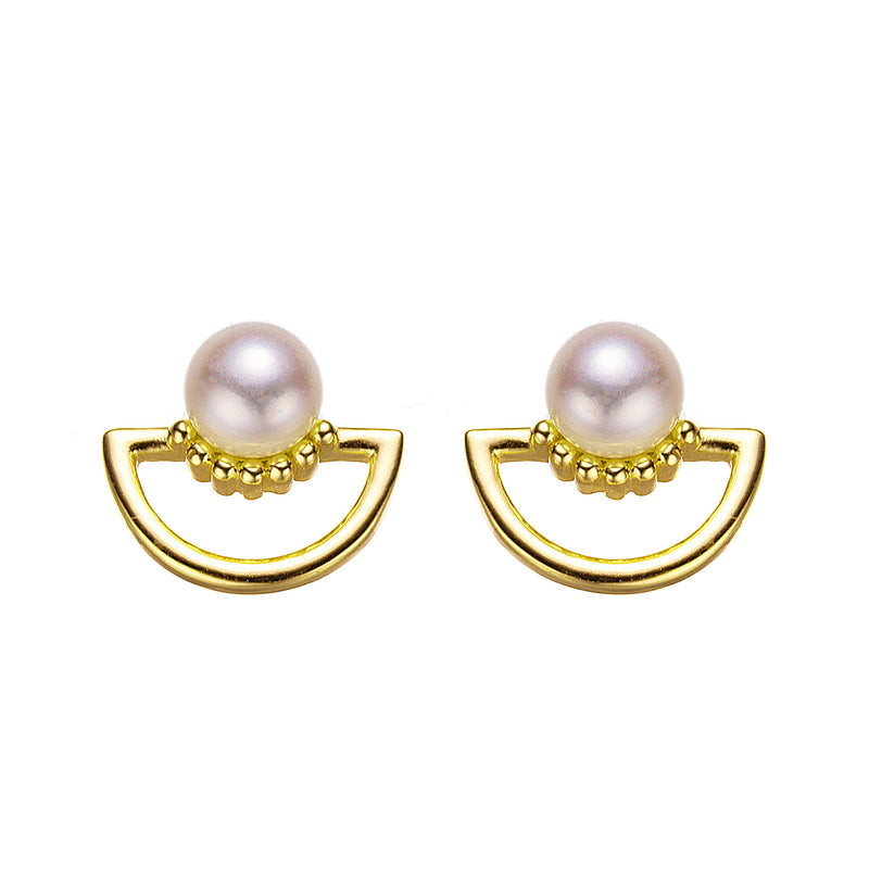 Gold Sunset Button Pearl Earrings