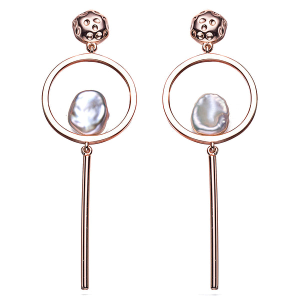 Rose Gold Skullie Pearl Drop Earrings
