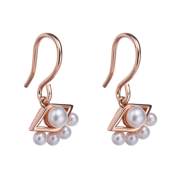 Rose Gold See No Evil Drop Pearl Earrings
