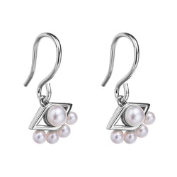 Silver See No Evil Drop Pearl Earrings
